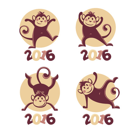 asian cartoon: funny monkey silhouettes, vector collection of symbols of 2016
