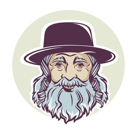 yiddish: old jewish man, vector portrait or avatar
