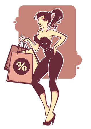comix: vector commercial illustration with girl image and shopping bags in pinup style