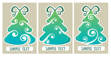 christmas backgrounds: vector collection of decorative Christmas trees tags and backgrounds Illustration