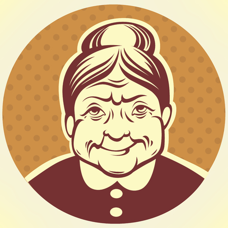 40s: vector portrait of lovely grandmother Illustration