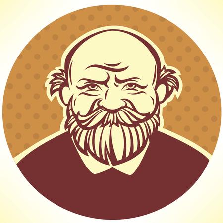 old man portrait: vector portrait of old man
