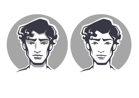 femme brune sexy: portraits vectoriels de beau jeune homme