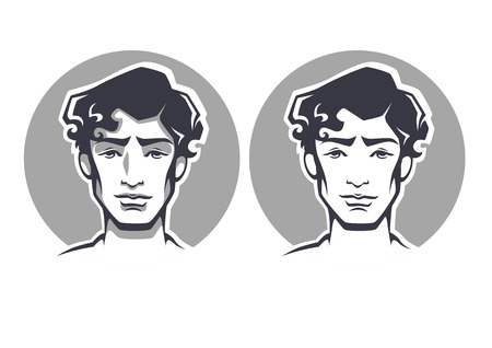 brunet: vector portraits of handsome young man Illustration