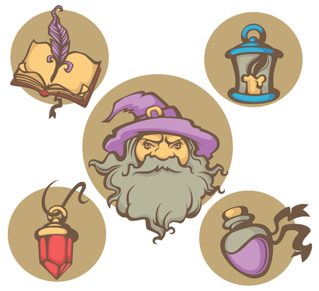 magic book: wizard portrait and magic objects vector collection