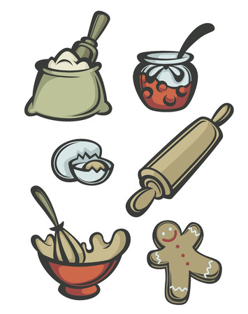 egg roll: New Year cooking collection, vector emblems and symbols