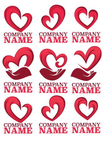 logo handshake: vector collection of heart, hands and love logo, concept, labels and forms Illustration
