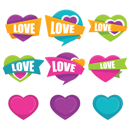 logo handshake: vector collection of heart, and love logo, concept, labels, stickers and forms Illustration