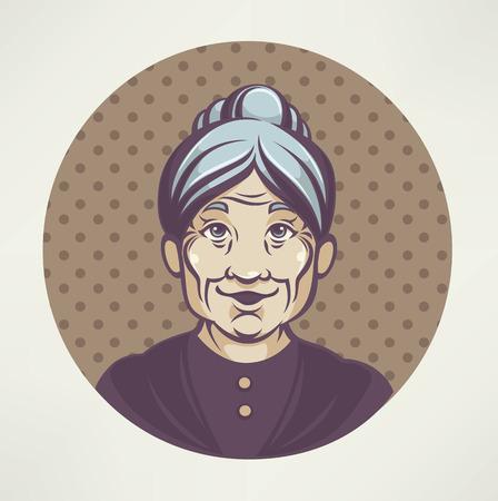 vector portret van mooie grootmoeder Stock Illustratie
