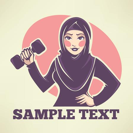femmes muslim: belle arabian faire fille fitness, illustration vectorielle