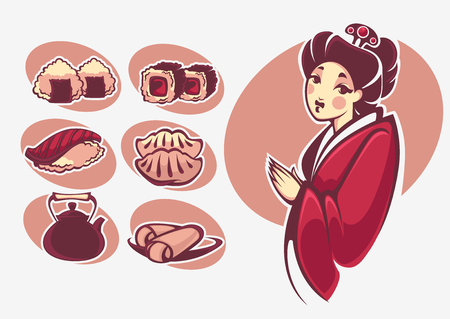 susi: vector collection of japanese food symbols Illustration