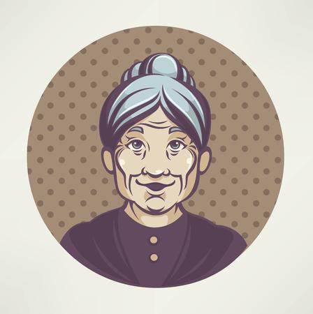 americana: vector portrait of lovely grandmother Illustration