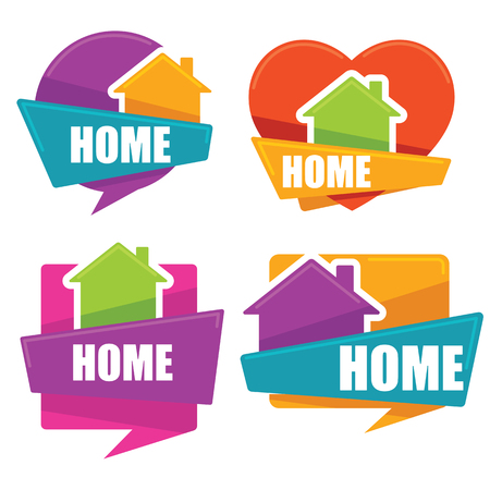 speech bubble: my little home, vector collection of property symbols, logo, emblems, stickers