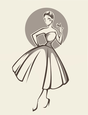 look at: new look dress, woman in retro style