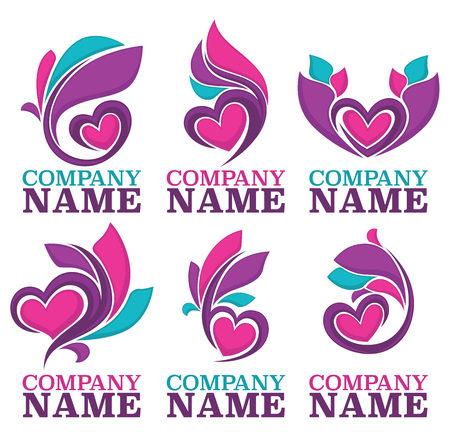 heart hand: vector collection of heart, leaves and love logo, concept, labels and forms