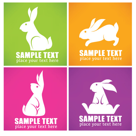 lapin silhouette: colorful easter rabbit collection Illustration