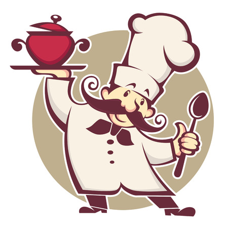happy cartoon chef, vector illustration Stock Illustratie