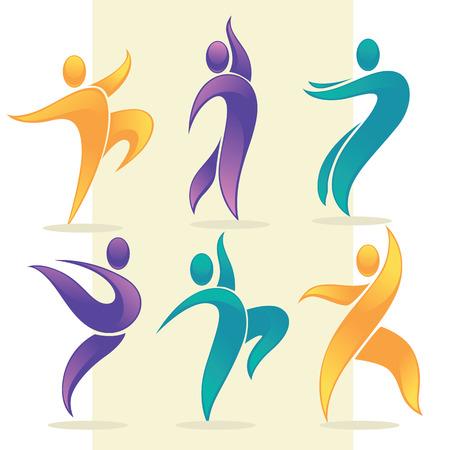 danza moderna: colección de vectores de personas abstractas en actitudes del baile, el logotipo y emblema