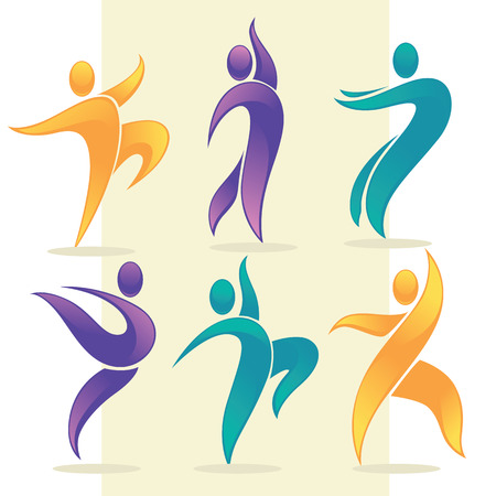 modern dance: vector collection of abstract people in dancing poses, logo and emblem Illustration