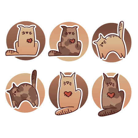 tubby: funny cats cats, my favorite pets, vector doodle collection