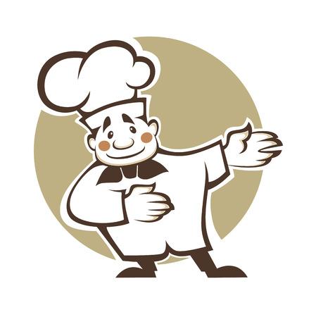 chef caricatura: feliz cocinero de la historieta, ilustración vectorial