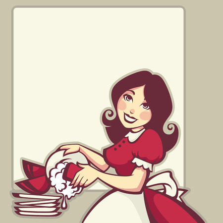 retro housewife: tipical housewife, vector illustration in retro style Illustration