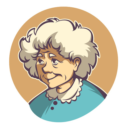 vector portrait of lovely grandmother Illustration