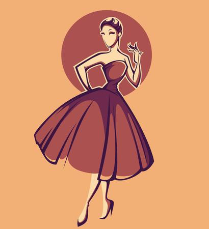 cuerpo femenino: vestido nuevo aspecto, la mujer en el estilo retro Vectores