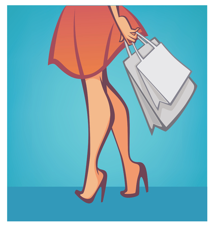 shopping mall: legs and bags, vector shopping and fashion background