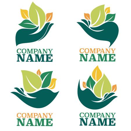 생태 심볼과 로고, 인간의 손과 녹색 성장 식물의 벡터 컬렉션