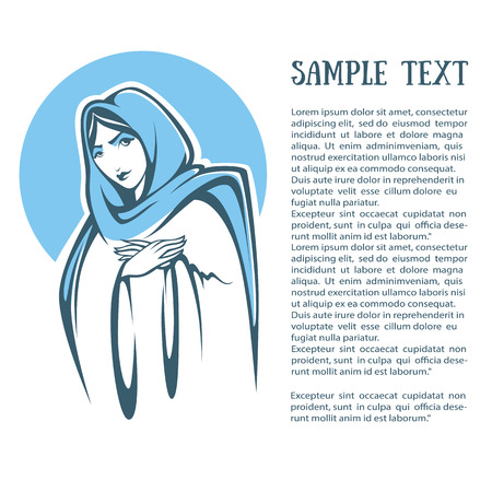 Mother Mary: vector illustration of praying virgin Mary