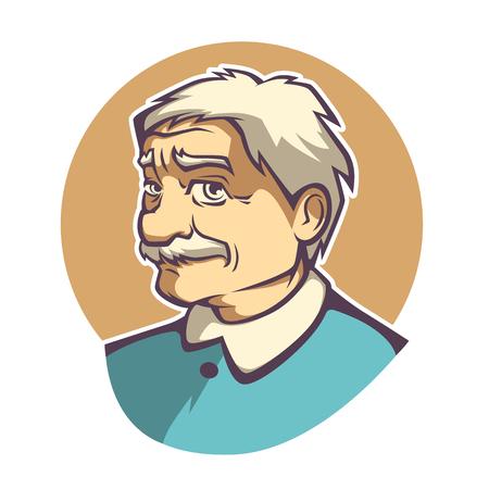 grey hair: vector portrait of old man in cartoom style Illustration