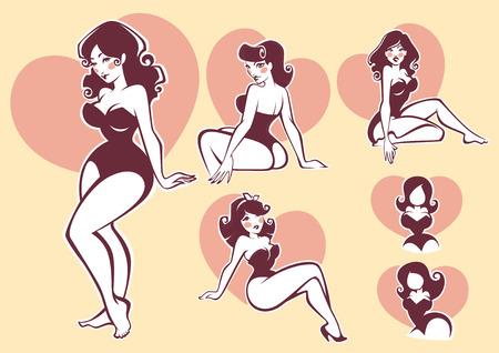 girl sexy: colección pinup vecor Vectores