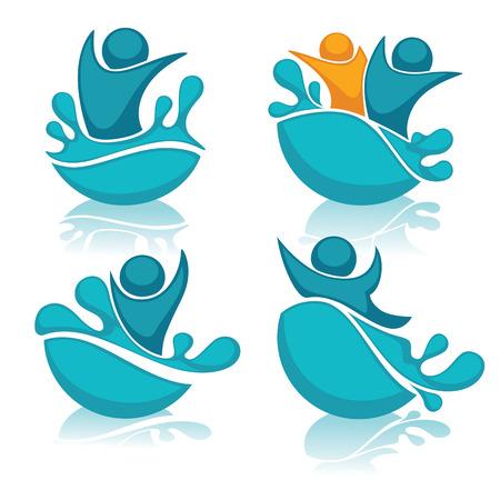 vector collection of aqua park and swimming actions logo, emblem and symbols
