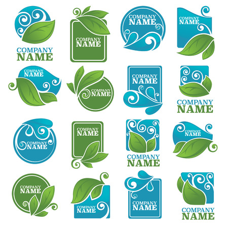 eco notice: vector collection of leaves and water symbols and logo