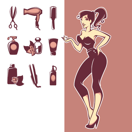cartoon hairdresser: vector collection of hairdressers amd spa salon equipment Illustration