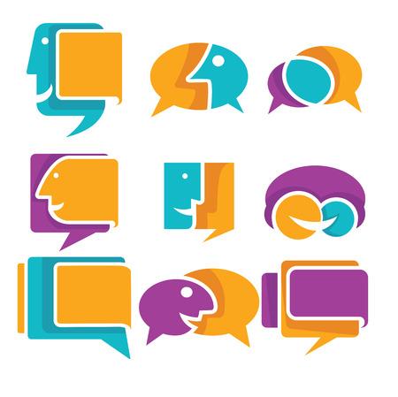 sociedade: coleção ector de falar, falar e comunicação ícones, sinais e símbolos