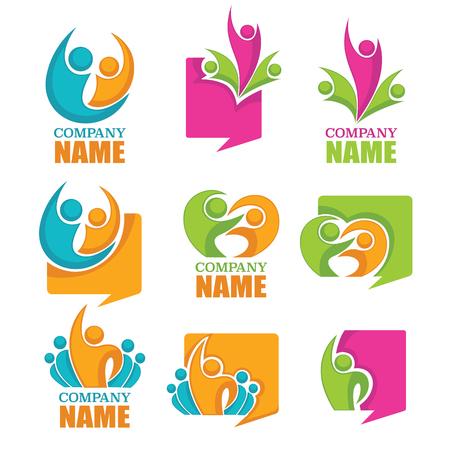 asociacion: colección de vectores de la gente discute y de huelga y de competencia símbolos y logotipo