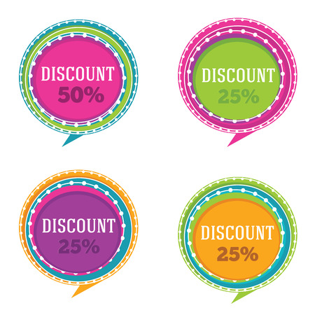vector collection of bright discount banners and stickers