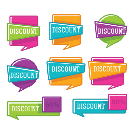 discount buttons: vector collection of linear bright discount banners and stickers