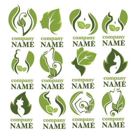 productos naturales: las mujeres de salud, belleza y tratamiento símbolos, logotipo, emblemas e iconos Vectores