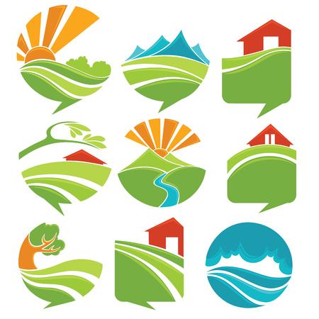 logotipo turismo: paisajes rurales se ven como una burbuja del discurso Vectores