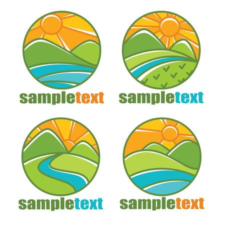 rural landscapes icon emblems nd logo line art style