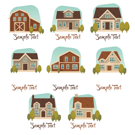 house windows: little cottage vector collection