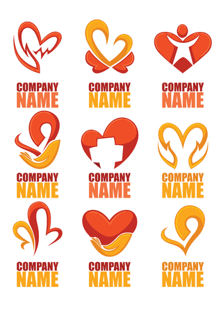 color image: vector collection of heart, hands and love logo, concept, labels and forms Illustration