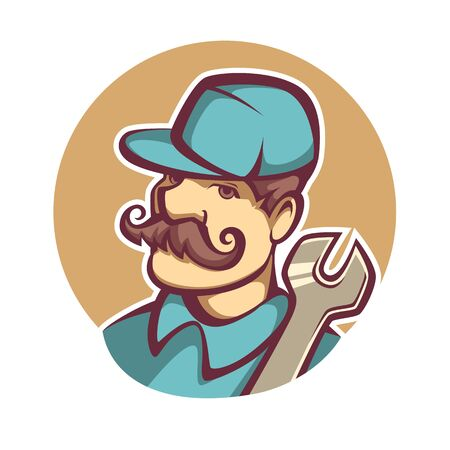 repair man: Vector image of a male mechanic cartoon emblem Illustration