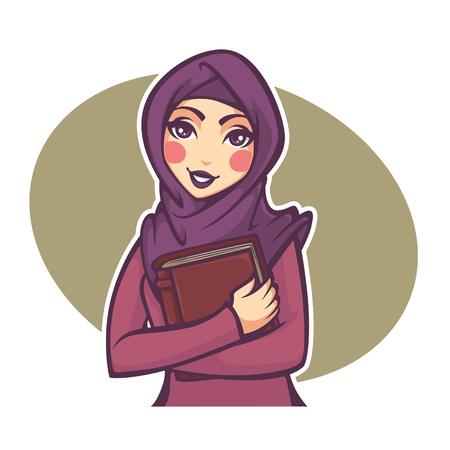 student life: beautiful arabian student, vector illustration