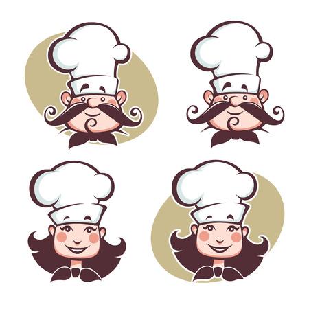 happy chef: man and woman happy chef