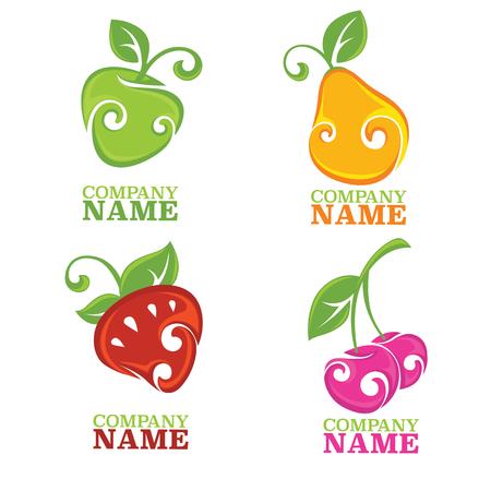 vector colección de frutas y bayas estilizadas frescas Ilustración de vector
