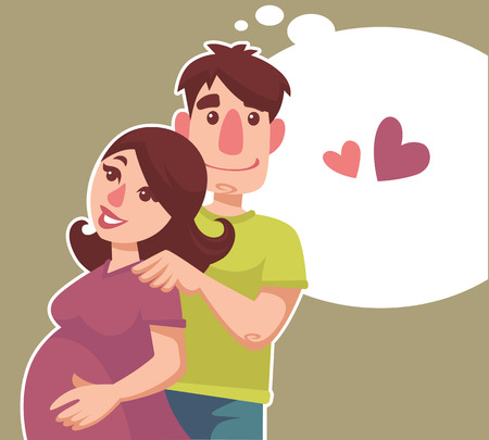 happy pregnant: happy pregnant woman her hasband and speech bubble